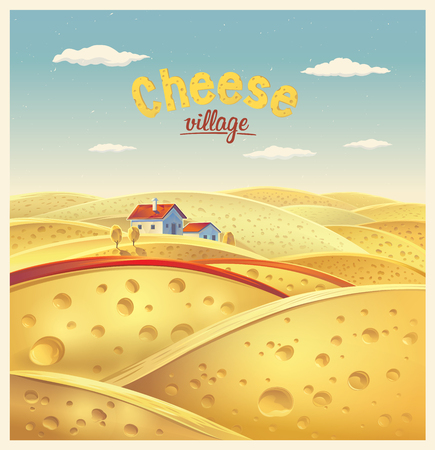 fictional: Cheese village. Vector illustration of a fictional landscape of the cheese slices.