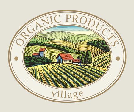 Landelijk landschap in het kader, een grafisch ontwerpelement voor het creëren van het etiket of handelsmerk.