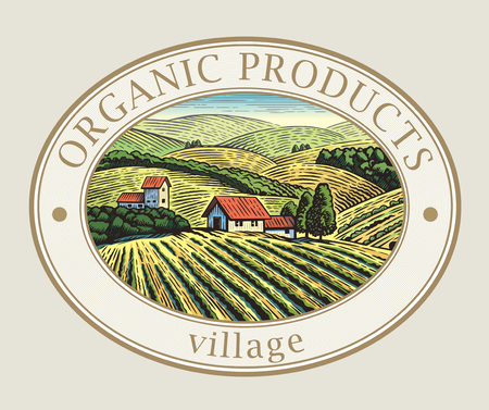 Rural landscape in the frame, a graphic design element for the create of the label or trademark. Vectores