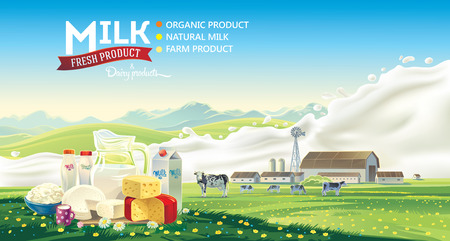 Still life of a set of dairy products on the background of splash of milk, and the farmland rural  landscape with a herd of cows. Vector illustration.