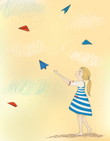 Little child girl, launches paper airplanes and dreams to fly. Illustration