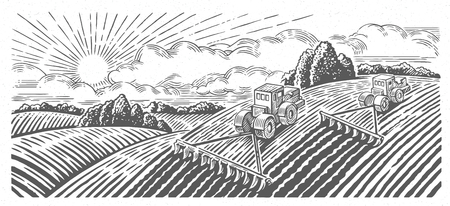 Spring rural landscape with two tractors in a graphic style, hand-drawn vector illustration.