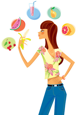 watermelon woman: Girl chooses what to eat, and holding a banana in his hand.