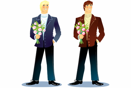 boyfriend: The boyfriend with a bouquet in hands Illustration