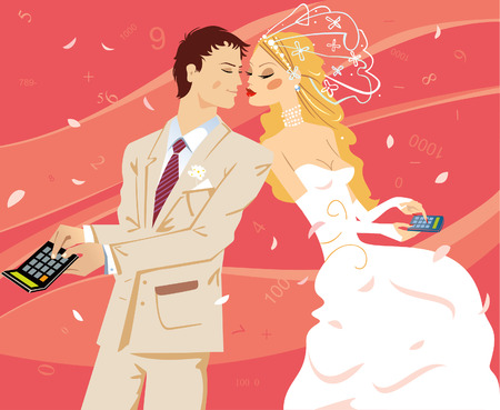 pairs: Wedding by calculation. Vector illustration.
