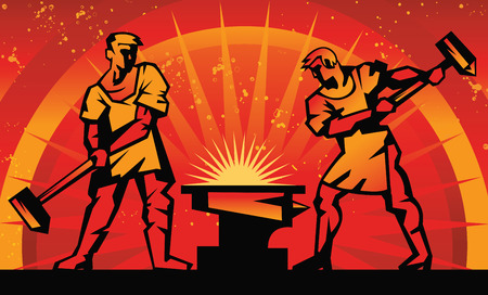 Illustration symbolique. Les forgerons forgent le métal. Banque d'images - 72087512