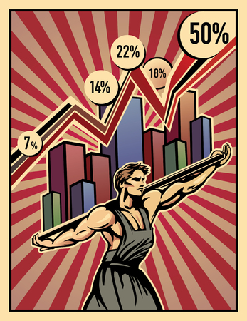 Labouring man with info graphics. Symbolic illustration that the shoulders of the working, keep the economy. Illustration