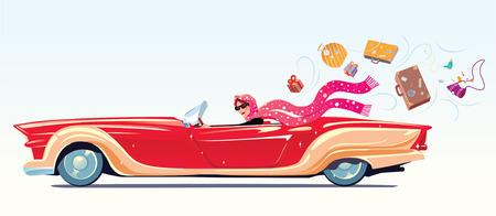 Dziewczyna napędza kabriolet, w podróży tracą dobytek. ilustracji wektorowych.