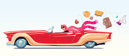Girl drives the cabriolet, on the go losing their belongings. Vector illustration.