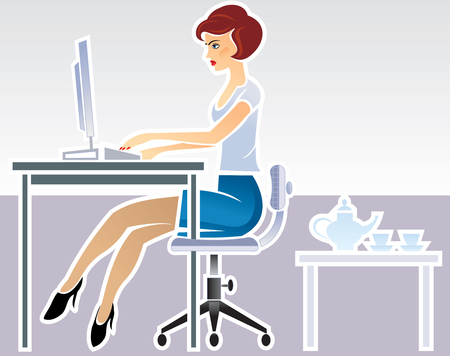 secretary: Secretary, working at in the office. Illustration