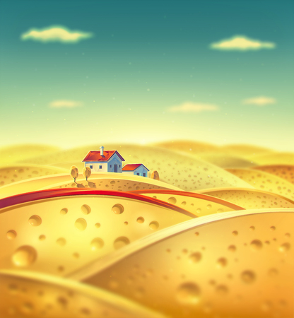 fictional: Cheese village. Raster illustration of a fictional landscape of the cheese slices.