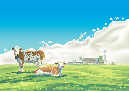 abundance: Two cows in the background of the summer landscape and splash from the milk, as well as graphic elements.