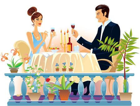 Loving couple evening supper in the restaurant. Illustration