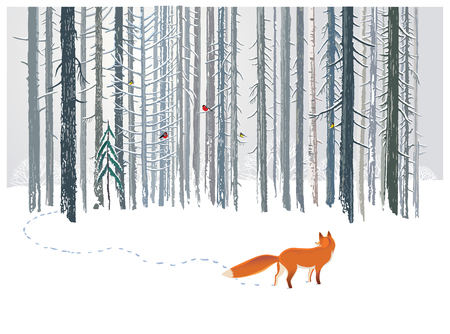 冬の森林景観のキツネ。