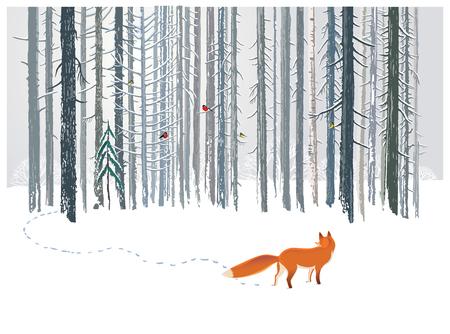 폭스와 함께 겨울 숲 풍경입니다. 스톡 콘텐츠 - 73845599