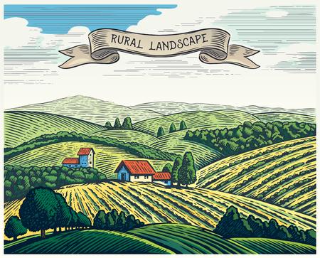 Landelijk landschap in grafische stijl, nabootsing van de gravure. Hand getekend en omgezet in vectorillustratie.
