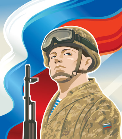 Russian soldiers in the form of a sand color on the background of the Russian flag.