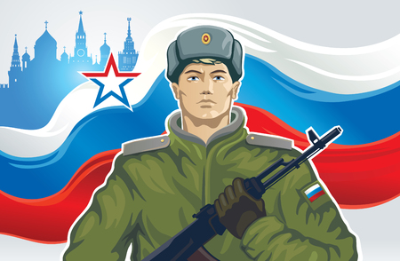 parades: Russian soldier with kalashnikov of the background on Russian flag.