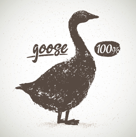 Silhouette of the goose, for light background, with the inscription, hand drawn illustration.