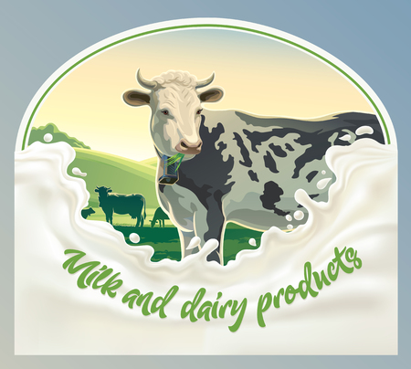 productos naturales: Cow, in frame from splash of milk against the background of a rural landscape. Vector illustration.