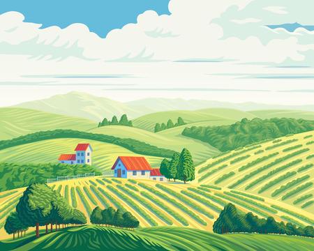 Landelijk zomerlandschap met heuvels en dorp.