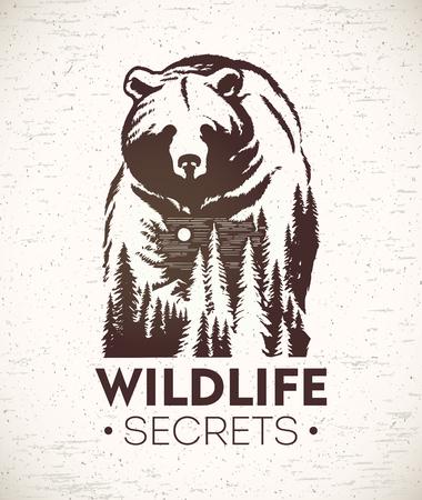 クマ、野生動物を象徴する風景とのベクトルの組み合わせのイラスト。
