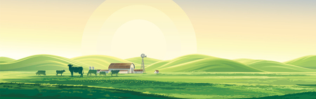 Summer rural landscape from cows and farm, dawn above hills, elongated format. Illustration