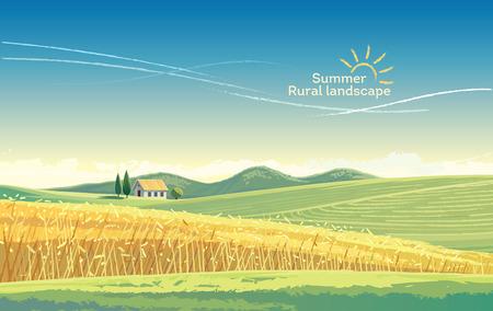Landelijk landschap met tarwegebied en huis op de heuvel. Vectoran illustratie.