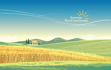 Paisaje rural con campo de trigo y casa en la colina. Ilustración vectorial Foto de archivo - 75802003