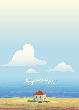 domicile: House on the coast of the sea, and the high sky with cloud, vector scenery.