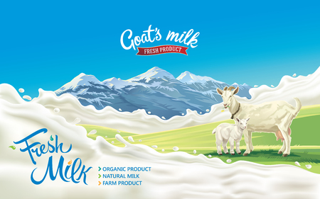 Goat and kid in a mountainous landscape and splash milk form like design elements. Vectores