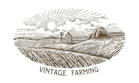 Landelijk landschap in gravure en vintage stijl. Hand getekend en omgezet naar vector illustratie.