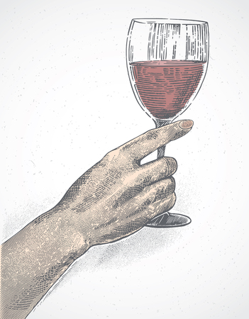 Female hand holds a glass of wine, the illustration is made in the style of engraving. Illustration