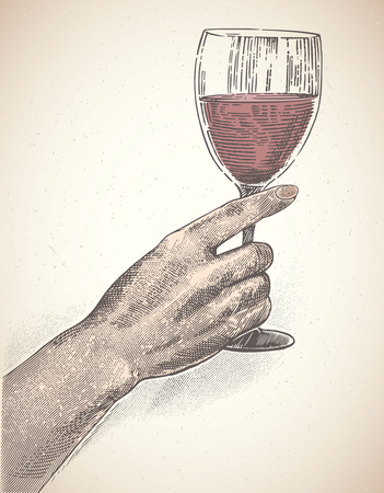 Female hand holds a glass of wine, the illustration is made in the style of engraving. Çizim
