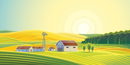 Rural landscape with fields and hills and with a farm. Ilustrace
