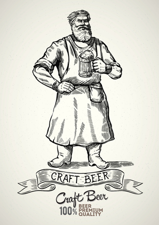 Happy brewer characters, holding a mug full of beer, illustration in engraving style. 向量圖像