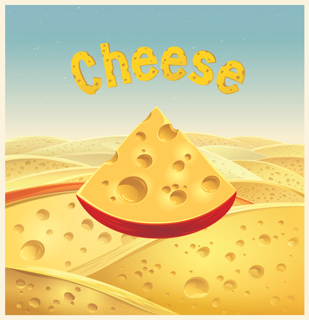 A piece of cheese is made of pieces of cheese. Vector illustration.