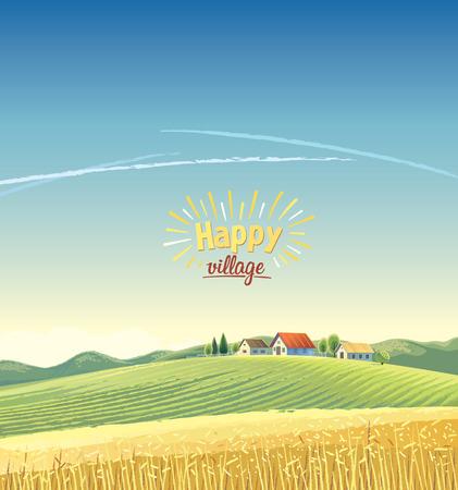 Paisaje rural con un pueblo en la colina y un campo de trigo. Ilustración del vector. Foto de archivo - 79128782