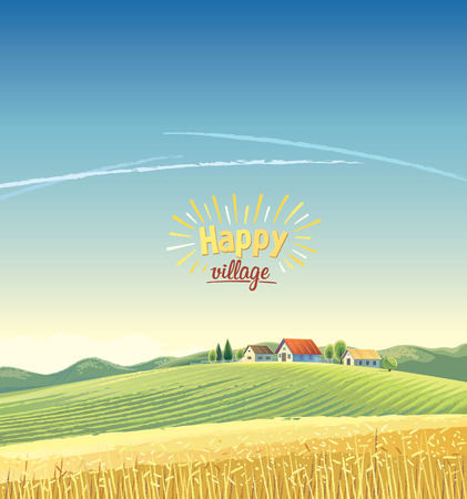 Rural landscape with a village on the hill and a wheat field. Vector illustration.