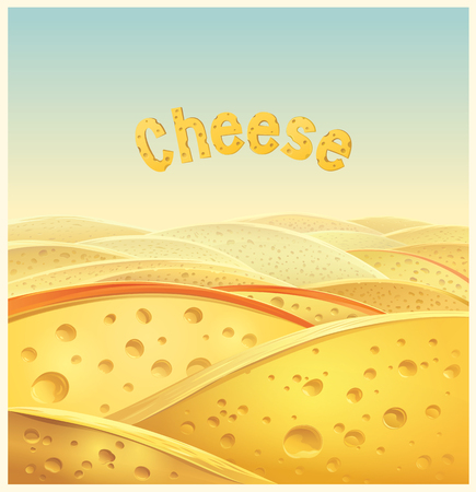 Pieces of cheese lined with hilly landscape.