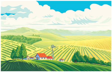 Rural landscape with a beautiful view of distant fields and hills. Vector illustration. Ilustração