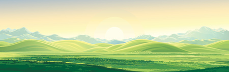 elongated: Mountain landscape with a dawn, an elongated format for the convenience of using it as a background.