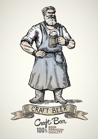 Happy brewer characters, holding a mug full of beer, illustration in engraving style and painted color. Illustration
