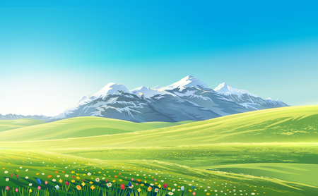Mountain landscape with alpine meadows, raster illustration.