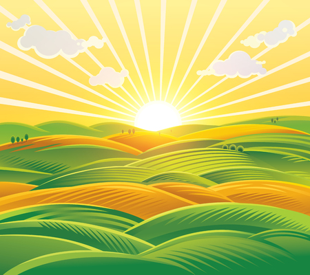 wholesome: Countryside landscape, fields and hills at dawn. Raster illustration.