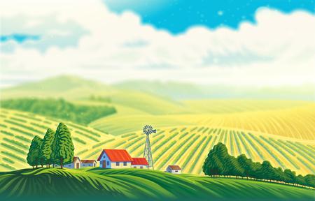 Landelijk landschap met een prachtig uitzicht op afgelegen velden en heuvels. Raster illustratie.