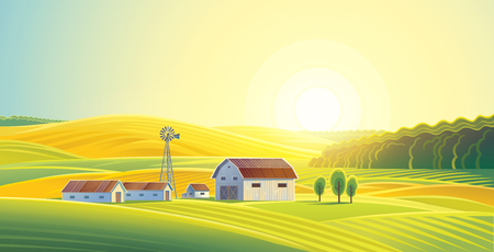 wholesome: Rural landscape with fields and hills and with a farm. Raster illustration.