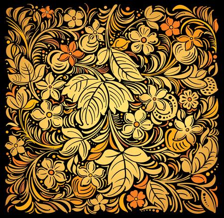 Fondo ornamental ruso tradicional oro en negro