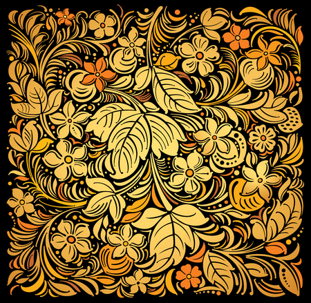 Russian traditional ornamental background gold on black