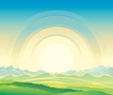 Summer rural landscape, dawn above hills.